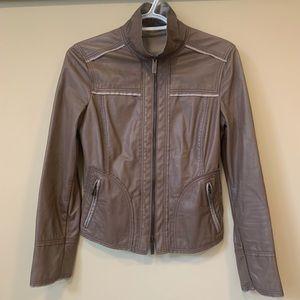 Giorgio Armani Lamb Leather Crop Zip Up Jacket